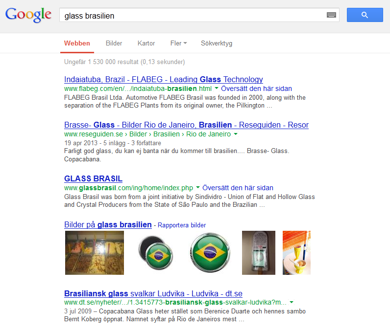 Glass i Brasilien enligt Google